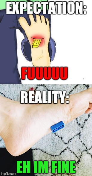 Does stepping on a lego sealeously hurt? It doesn't hurt at all for me | EXPECTATION: REALITY: FUUUUU EH IM FINE | image tagged in lego,expectation vs reality,stepping on a lego | made w/ Imgflip meme maker
