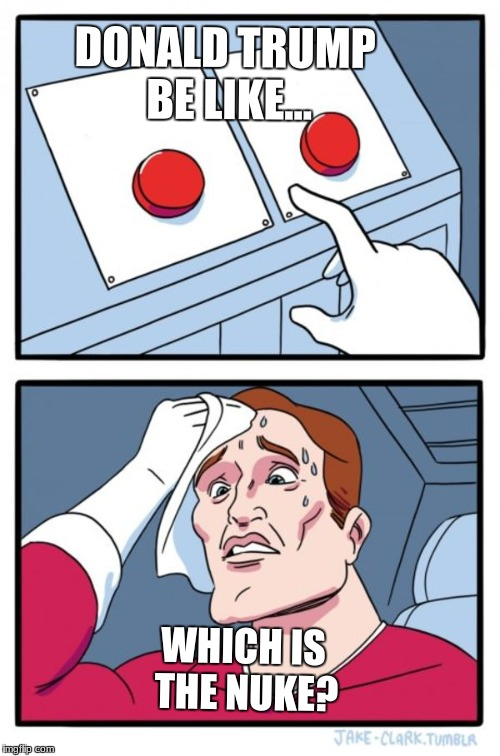Two Buttons Meme | DONALD TRUMP BE LIKE... WHICH IS THE NUKE? | image tagged in memes,two buttons | made w/ Imgflip meme maker