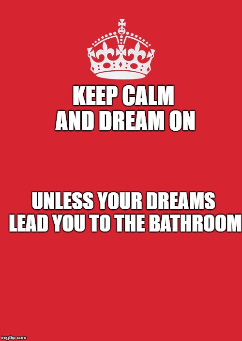 Keep Calm And Carry On Red Meme | KEEP CALM AND DREAM ON UNLESS YOUR DREAMS LEAD YOU TO THE BATHROOM | image tagged in memes,keep calm and carry on red | made w/ Imgflip meme maker