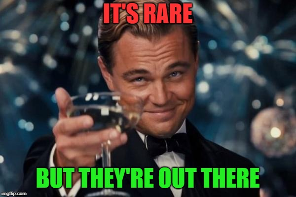 Leonardo Dicaprio Cheers Meme | IT'S RARE BUT THEY'RE OUT THERE | image tagged in memes,leonardo dicaprio cheers | made w/ Imgflip meme maker