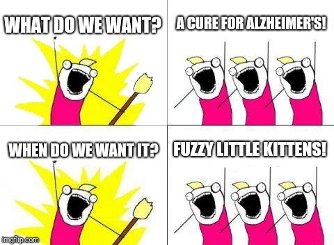 What Do We Want Meme | WHAT DO WE WANT? A CURE FOR ALZHEIMER'S! WHEN DO WE WANT IT? FUZZY LITTLE KITTENS! | image tagged in memes,what do we want | made w/ Imgflip meme maker