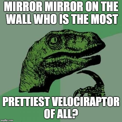 Philosoraptor Meme | MIRROR MIRROR ON THE WALL WHO IS THE MOST PRETTIEST VELOCIRAPTOR OF ALL? | image tagged in memes,philosoraptor | made w/ Imgflip meme maker