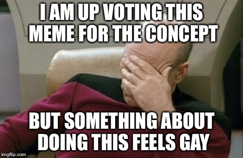 Captain Picard Facepalm Meme | I AM UP VOTING THIS MEME FOR THE CONCEPT BUT SOMETHING ABOUT DOING THIS FEELS GAY | image tagged in memes,captain picard facepalm | made w/ Imgflip meme maker