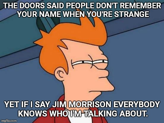Futurama Fry Meme | THE DOORS SAID PEOPLE DON'T REMEMBER YOUR NAME WHEN YOU'RE STRANGE YET IF I SAY JIM MORRISON EVERYBODY KNOWS WHO I'M TALKING ABOUT. | image tagged in memes,futurama fry,people are strange | made w/ Imgflip meme maker