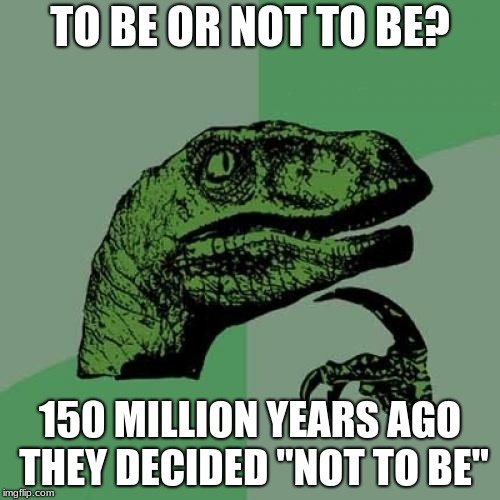 "Philosoraptor Meme | TO BE OR NOT TO BE? 150 MILLION YEARS AGO THEY DECIDED ""NOT TO BE"" 