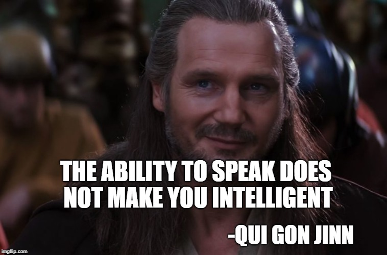 THE ABILITY TO SPEAK DOES NOT MAKE YOU INTELLIGENT -QUI GON JINN | image tagged in qui-gon jinn smirk | made w/ Imgflip meme maker
