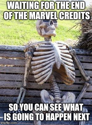 Waiting Skeleton Meme | WAITING FOR THE END OF THE MARVEL CREDITS SO YOU CAN SEE WHAT IS GOING TO HAPPEN NEXT | image tagged in memes,waiting skeleton | made w/ Imgflip meme maker