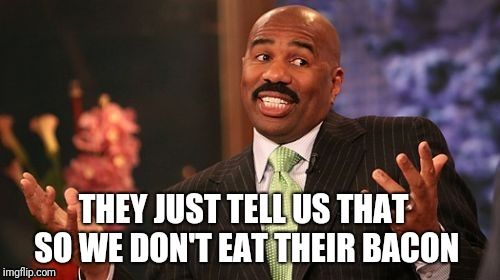 THEY JUST TELL US THAT SO WE DON'T EAT THEIR BACON | made w/ Imgflip meme maker