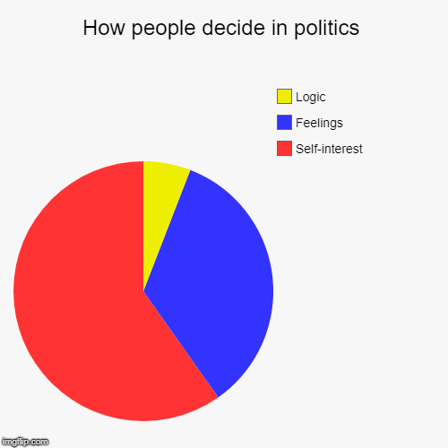 Or not? Let's vote on it! | How people decide in politics | Self-interest, Feelings, Logic | image tagged in funny,pie charts,politics | made w/ Imgflip pie chart maker