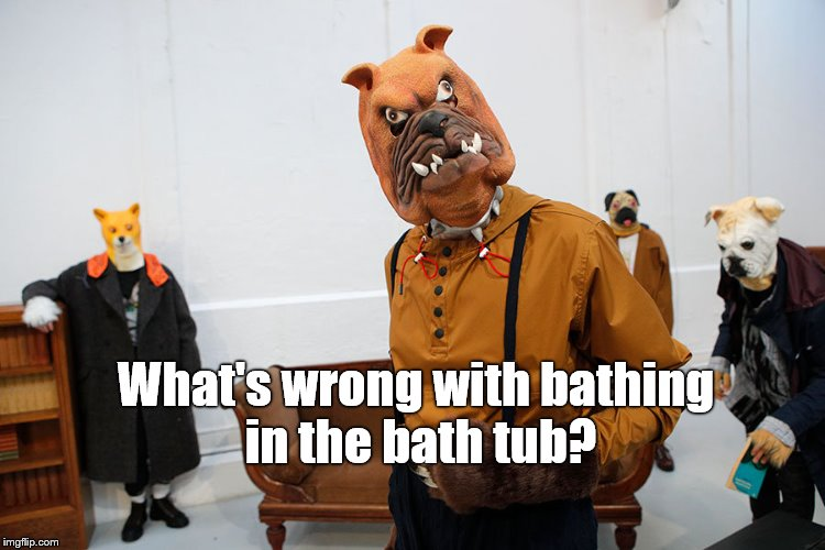 fashion week | What's wrong with bathing in the bath tub? | image tagged in fashion week | made w/ Imgflip meme maker