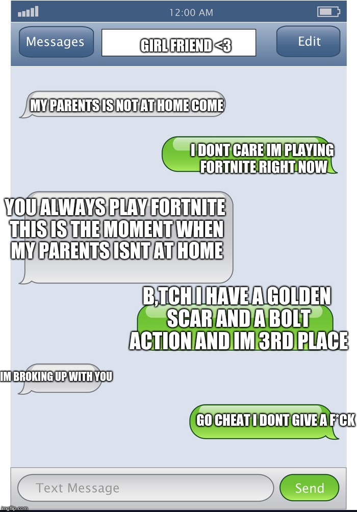 Phone chat meme | MY PARENTS IS NOT AT HOME COME GIRL FRIEND <3 B,TCH I HAVE A GOLDEN SCAR AND A BOLT ACTION AND IM 3RD PLACE I DONT CARE IM PLAYING FORTNITE  | image tagged in textbox,fortnite,chat,girlfriend,disaster | made w/ Imgflip meme maker