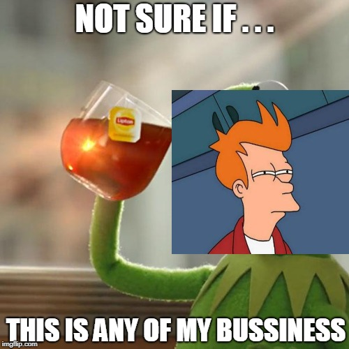 But Thats None Of My Business Meme | NOT SURE IF . . . THIS IS ANY OF MY BUSSINESS | image tagged in memes,but thats none of my business,kermit the frog | made w/ Imgflip meme maker