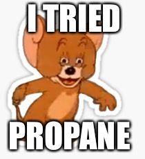 I TRIED PROPANE | image tagged in propane mouse | made w/ Imgflip meme maker
