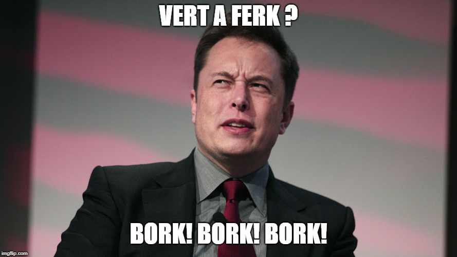 Confused Elon Musk | VERT A FERK ? BORK! BORK! BORK! | image tagged in confused elon musk | made w/ Imgflip meme maker