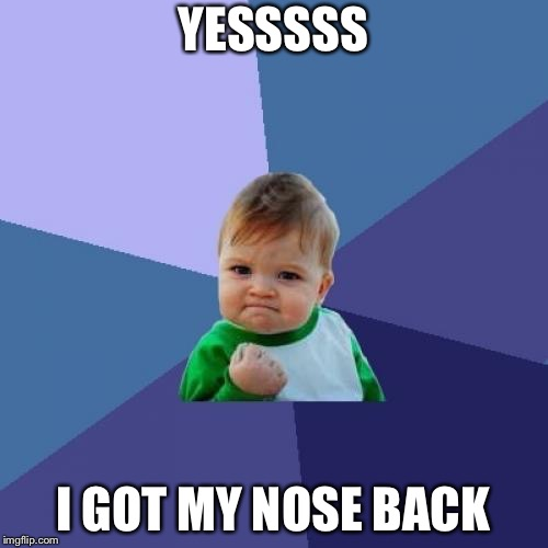 Success Kid Meme | YESSSSS I GOT MY NOSE BACK | image tagged in memes,success kid | made w/ Imgflip meme maker