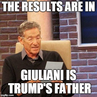Maury Lie Detector Meme | THE RESULTS ARE IN GIULIANI IS TRUMP'S FATHER | image tagged in memes,maury lie detector | made w/ Imgflip meme maker