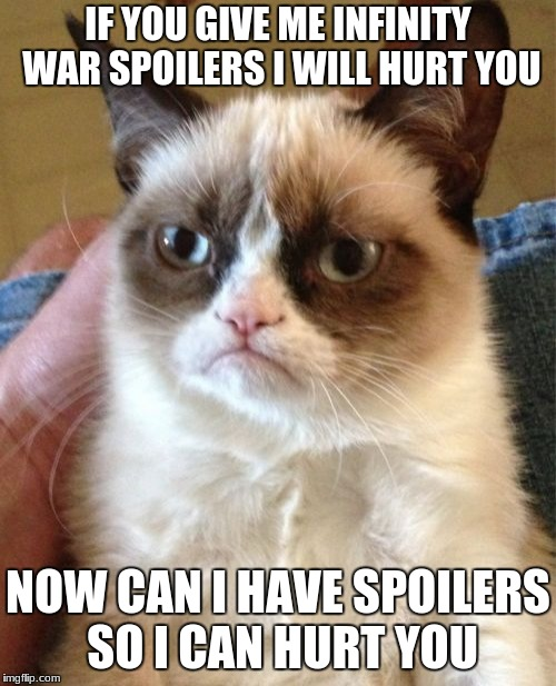 Dont actually give me spoilers though. | IF YOU GIVE ME INFINITY WAR SPOILERS I WILL HURT YOU NOW CAN I HAVE SPOILERS SO I CAN HURT YOU | image tagged in memes,grumpy cat | made w/ Imgflip meme maker