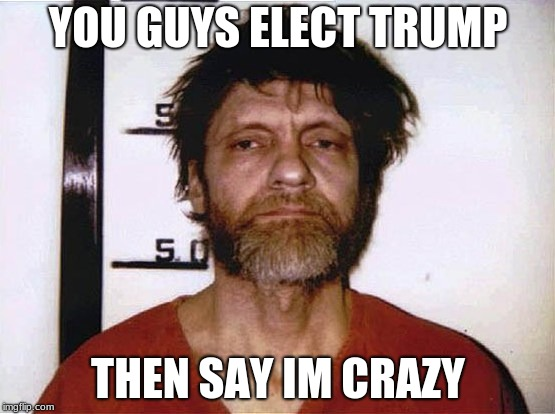 Unabomber | YOU GUYS ELECT TRUMP THEN SAY IM CRAZY | image tagged in unabomber | made w/ Imgflip meme maker