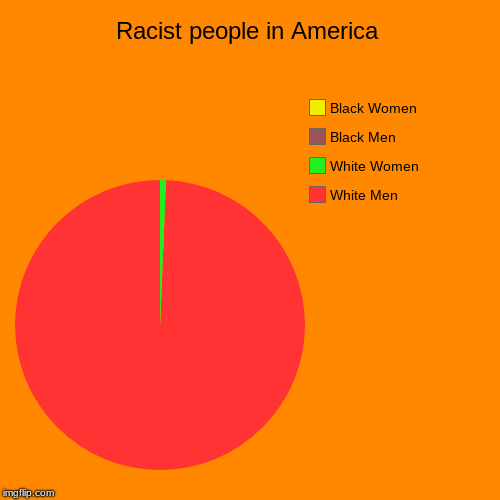 Racist people in America | White Men, White Women, Black Men, Black Women | image tagged in funny,pie charts | made w/ Imgflip pie chart maker