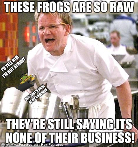 Chef Gordon Ramsay |  THESE FROGS ARE SO RAW; I'D TELL HIM I'M NOT KERMIT; BUT THAT'S NONE OF MY BUSINESS; THEY'RE STILL SAYING ITS NONE OF THEIR BUSINESS! | image tagged in memes,chef gordon ramsay,kermit the frog | made w/ Imgflip meme maker