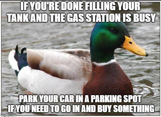 Actual Advice Mallard Meme | IF YOU'RE DONE FILLING YOUR TANK AND THE GAS STATION IS BUSY PARK YOUR CAR IN A PARKING SPOT IF YOU NEED TO GO IN AND BUY SOMETHING | image tagged in memes,actual advice mallard | made w/ Imgflip meme maker