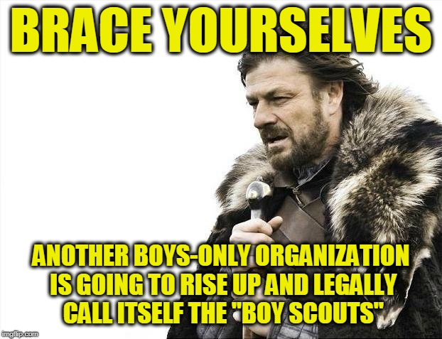"Brace Yourselves X is Coming Meme | BRACE YOURSELVES ANOTHER BOYS-ONLY ORGANIZATION IS GOING TO RISE UP AND LEGALLY CALL ITSELF THE ""BOY SCOUTS"" 