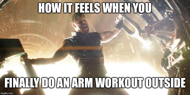 Bicep workout  | HOW IT FEELS WHEN YOU FINALLY DO AN ARM WORKOUT OUTSIDE | image tagged in workout | made w/ Imgflip meme maker