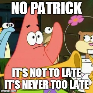 No Patrick Meme | NO PATRICK IT'S NOT TO LATE IT'S NEVER TOO LATE | image tagged in memes,no patrick | made w/ Imgflip meme maker