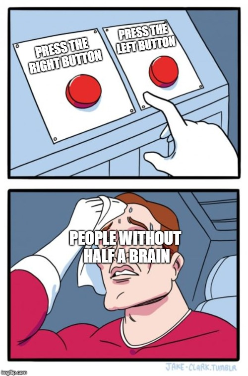 Two Buttons Meme | PRESS THE RIGHT BUTTON PRESS THE LEFT BUTTON PEOPLE WITHOUT HALF A BRAIN | image tagged in memes,two buttons | made w/ Imgflip meme maker