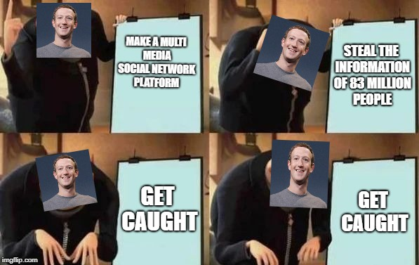 Gru's Plan | MAKE A MULTI MEDIA SOCIAL NETWORK PLATFORM STEAL THE INFORMATION OF 83 MILLION PEOPLE GET CAUGHT GET CAUGHT | image tagged in gru's plan | made w/ Imgflip meme maker