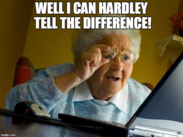 Grandma Finds The Internet Meme | WELL I CAN HARDLEY TELL THE DIFFERENCE! | image tagged in memes,grandma finds the internet | made w/ Imgflip meme maker