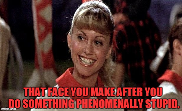 Sandra Dee Grease | THAT FACE YOU MAKE AFTER YOU DO SOMETHING PHENOMENALLY STUPID. | image tagged in sandra dee grease | made w/ Imgflip meme maker