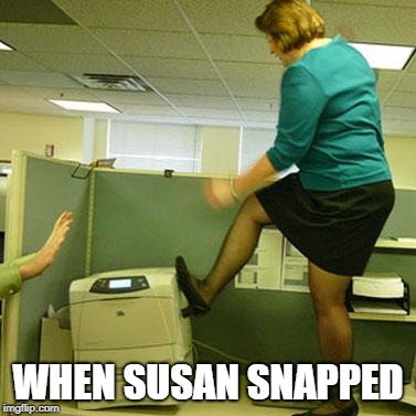 When Susan Snapped | WHEN SUSAN SNAPPED | image tagged in office,printer,rage | made w/ Imgflip meme maker