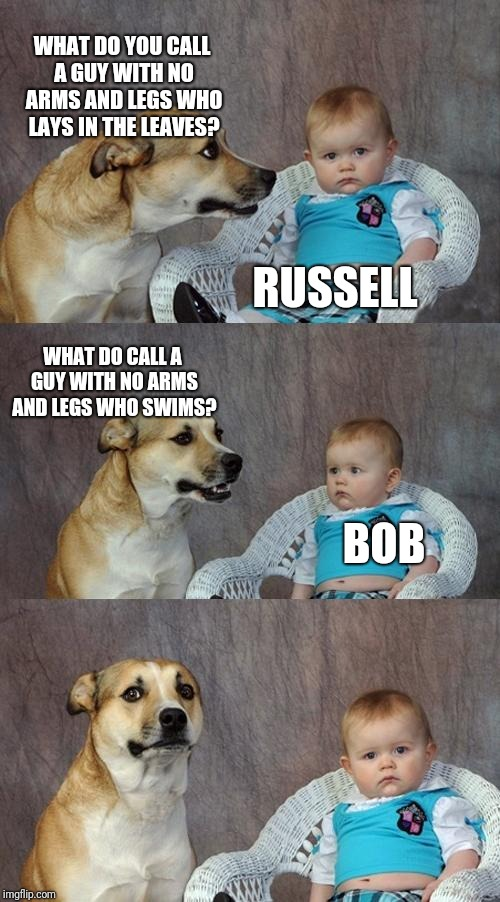 Dad Joke Dog Meme | WHAT DO YOU CALL A GUY WITH NO ARMS AND LEGS WHO LAYS IN THE LEAVES? RUSSELL WHAT DO CALL A GUY WITH NO ARMS AND LEGS WHO SWIMS? BOB | image tagged in memes,dad joke dog | made w/ Imgflip meme maker