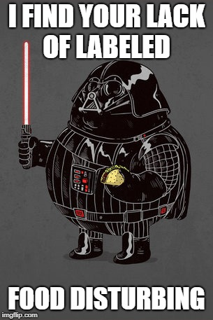 Fat Darth Vader | I FIND YOUR LACK OF LABELED FOOD DISTURBING | image tagged in fat darth vader | made w/ Imgflip meme maker