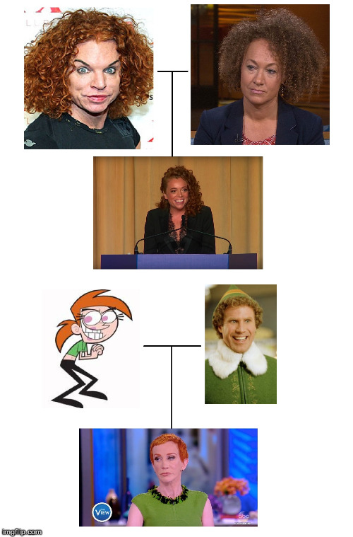 image tagged in rachel dolezal,carrot topp,michelle wolf,buddy the elf,kathy griffin | made w/ Imgflip meme maker