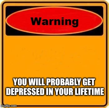 Warning Sign Meme | YOU WILL PROBABLY GET DEPRESSED IN YOUR LIFETIME | image tagged in memes,warning sign | made w/ Imgflip meme maker