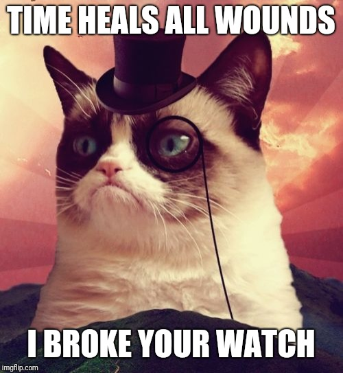 Grumpy Cat Top Hat Meme | TIME HEALS ALL WOUNDS I BROKE YOUR WATCH | image tagged in memes,grumpy cat top hat,grumpy cat | made w/ Imgflip meme maker