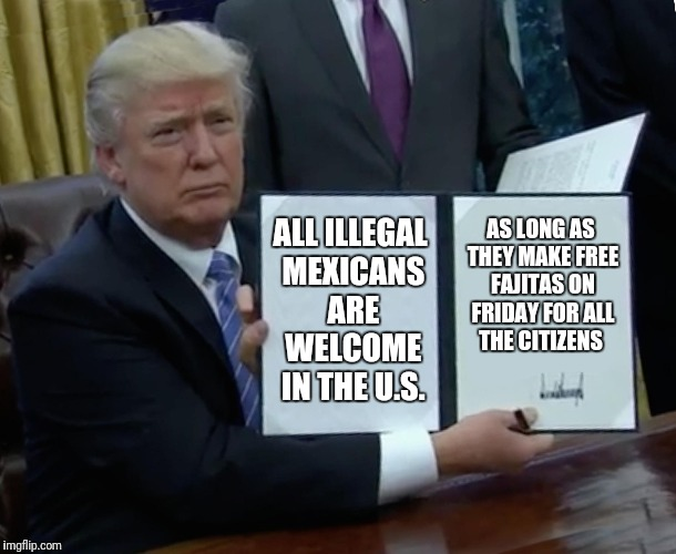 Trump Bill Signing Meme | ALL ILLEGAL MEXICANS ARE WELCOME IN THE U.S. AS LONG AS THEY MAKE FREE FAJITAS ON FRIDAY FOR ALL THE CITIZENS | image tagged in memes,trump bill signing | made w/ Imgflip meme maker