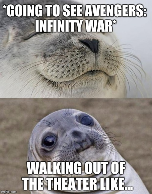Infinity war spoiler alert!  | *GOING TO SEE AVENGERS: INFINITY WAR* WALKING OUT OF THE THEATER LIKE... | image tagged in memes,short satisfaction vs truth,infinity war,funny,awkward moment sealion | made w/ Imgflip meme maker