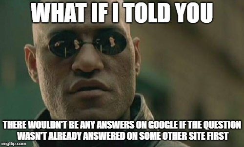 Matrix Morpheus Meme | WHAT IF I TOLD YOU THERE WOULDN'T BE ANY ANSWERS ON GOOGLE IF THE QUESTION WASN'T ALREADY ANSWERED ON SOME OTHER SITE FIRST | image tagged in memes,matrix morpheus | made w/ Imgflip meme maker