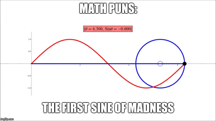 I might be going off on a tangent... | MATH PUNS: THE FIRST SINE OF MADNESS | image tagged in madness,sine | made w/ Imgflip meme maker