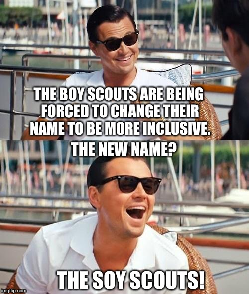 Leonardo Dicaprio Wolf Of Wall Street Meme | THE BOY SCOUTS ARE BEING FORCED TO CHANGE THEIR NAME TO BE MORE INCLUSIVE. THE NEW NAME? THE SOY SCOUTS! | image tagged in memes,leonardo dicaprio wolf of wall street,boy scouts,liberals | made w/ Imgflip meme maker