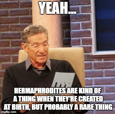 Maury Lie Detector Meme | YEAH... HERMAPHRODITES ARE KIND OF A THING WHEN THEY'RE CREATED AT BIRTH, BUT PROBABLY A RARE THING | image tagged in memes,maury lie detector | made w/ Imgflip meme maker