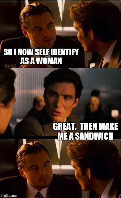 Inception Meme | SO I NOW SELF IDENTIFY AS A WOMAN GREAT.  THEN MAKE ME A SANDWICH | image tagged in memes,inception,jbmemegeek | made w/ Imgflip meme maker