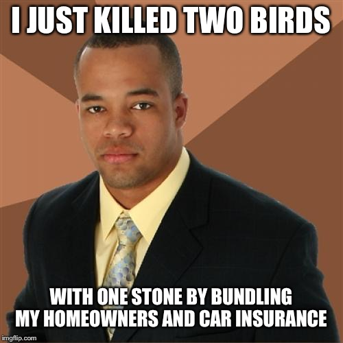 Successful Black Man Meme | I JUST KILLED TWO BIRDS WITH ONE STONE BY BUNDLING MY HOMEOWNERS AND CAR INSURANCE | image tagged in memes,successful black man | made w/ Imgflip meme maker