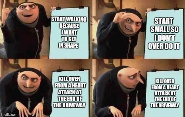 Gru's Plan | START WALKING BECAUSE I WANT TO GET IN SHAPE START SMALL SO I DON'T OVER DO IT KILL OVER  FROM A HEART ATTACK AT THE END OF THE DRIVEWAY KIL | image tagged in gru's plan | made w/ Imgflip meme maker