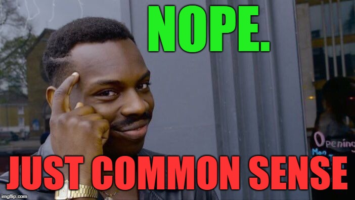 Roll Safe Think About It Meme | NOPE. JUST COMMON SENSE | image tagged in memes,roll safe think about it | made w/ Imgflip meme maker