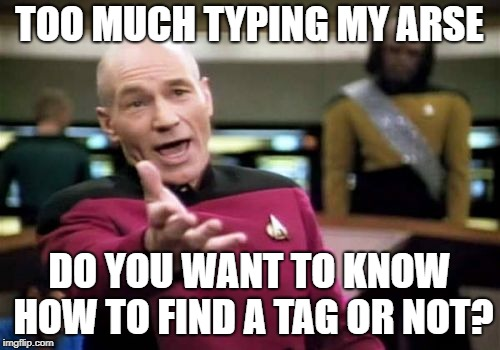 Picard Wtf Meme | TOO MUCH TYPING MY ARSE DO YOU WANT TO KNOW HOW TO FIND A TAG OR NOT? | image tagged in memes,picard wtf | made w/ Imgflip meme maker