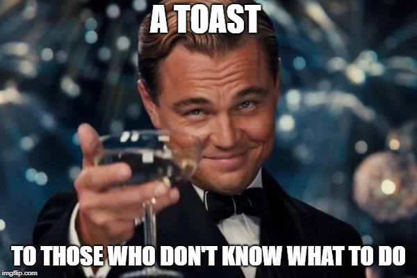 Leonardo Dicaprio Cheers Meme | A TOAST TO THOSE WHO DON'T KNOW WHAT TO DO | image tagged in memes,leonardo dicaprio cheers | made w/ Imgflip meme maker